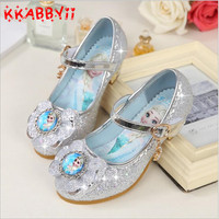 KKABBYII Children Leather Sandals Child High Heels Girls Princess Summer Elsa Shoes Chaussure Enfants Sandals Party