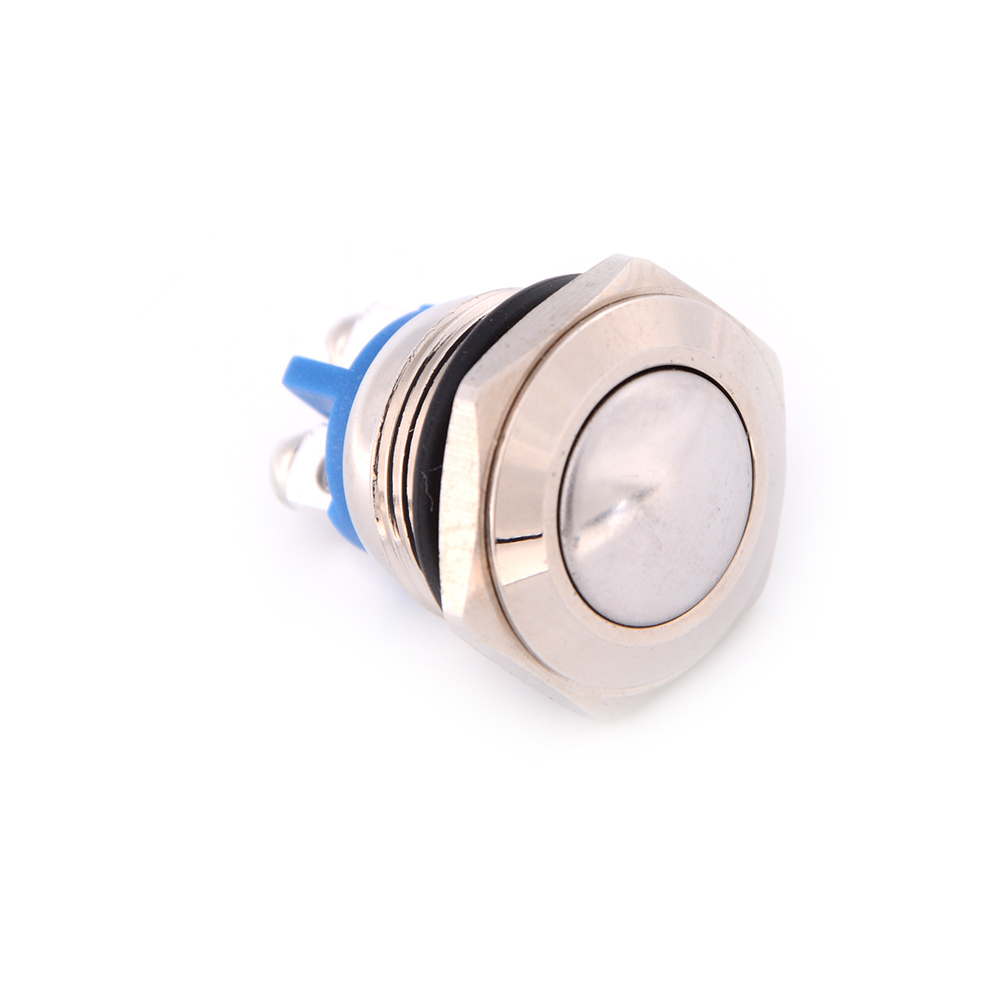 Auto Start Horn Button Momentary Steel 16mm Push Button Switch Car Dash 2A/36VDC Metallic Luster And Blue Color Metal Switch