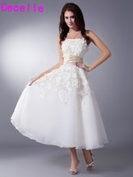 Vintage Tea Length A-line Wedding Dresses With Champagne Belt Short Lace Wedding Gowns With Color Reception Robe De Mariee