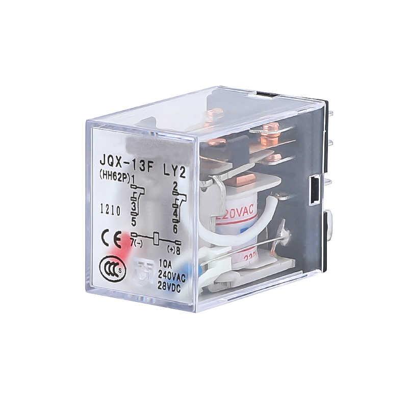 HH62P LY2NJ JQX-13F LY2 Mini relais électromagnétiques ca 220V 110V cc 24V 12V 10A DPDT 8 broches cuivre bobine relais de puissance commutateur LED