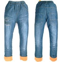 Winter 6 9Y Boys Denim Trousers Warm Fleece Jeans Letters Children Embroider Kids Things Pants