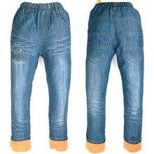 купить Winter 6-9Y Boys Denim trousers Warm fleece Jeans letters Children embroider Kids' things Pants MH 9005 дешево