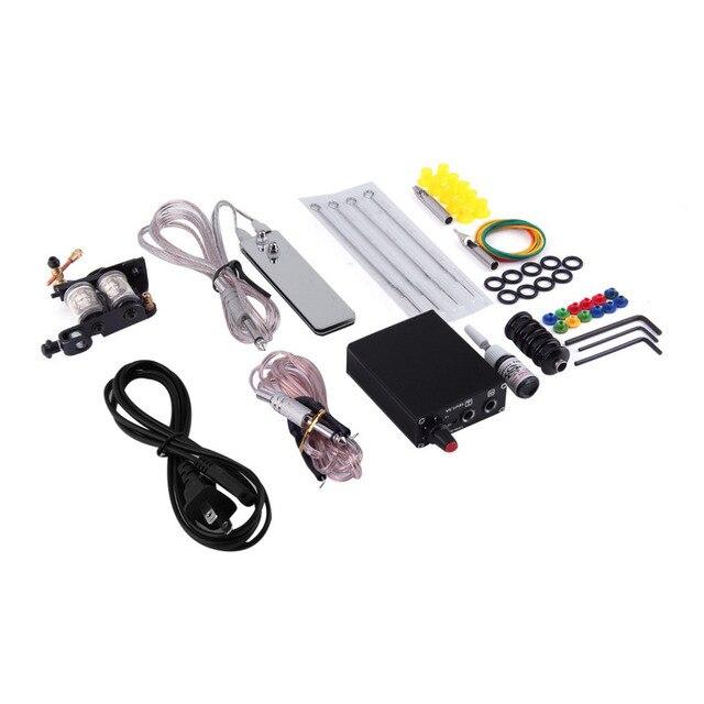 1set Professional body Tattoo Equipment Machine Complete Tattoo Kit Set Equipment Machine Needles Power Supply Gun Inks