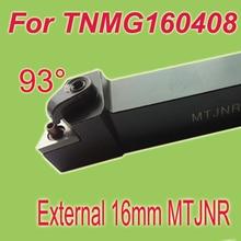 Free Shiping MTJNR 16*16*100  93 Degree External TNMG16 Inserts Holder Metal Cutting Tools Lathe Tool For Lathe Machine