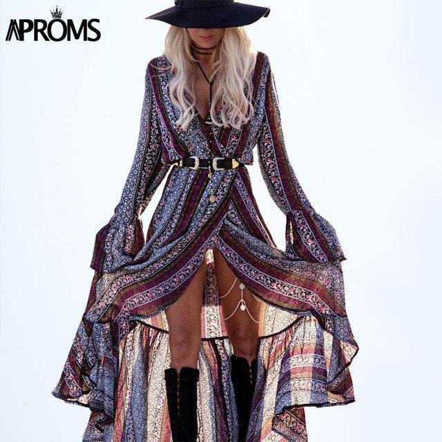 Boho Fashion Women Maxi Dresses Casual Long Sleeve Floral Print Long Beach Dress Big Size V-Neck Dress Vestido 10802