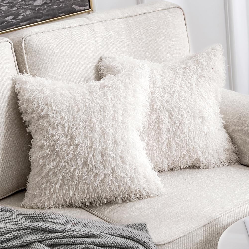 Decorative White Faux Fur Throw Pillow