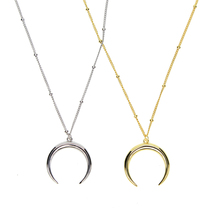top quality bead delicate chain 100% 925 sterling silver GOLD color horn crescent moon pendant women dainty 925 horn necklace