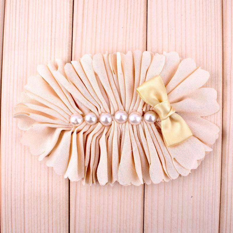 Image 5 - 120pcs 7 Colors Chiffon Flower With Six Pearl And Mini Satin Bow  Headband Accessories Flat Back Flower For Headbandflowers for  headbandschiffon flowersheadband accessories