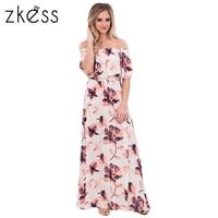 Zkess Boho Vibe Floral Print Off Shoulder Maxi Dress Women 2017 Summer High Quality Brand Long