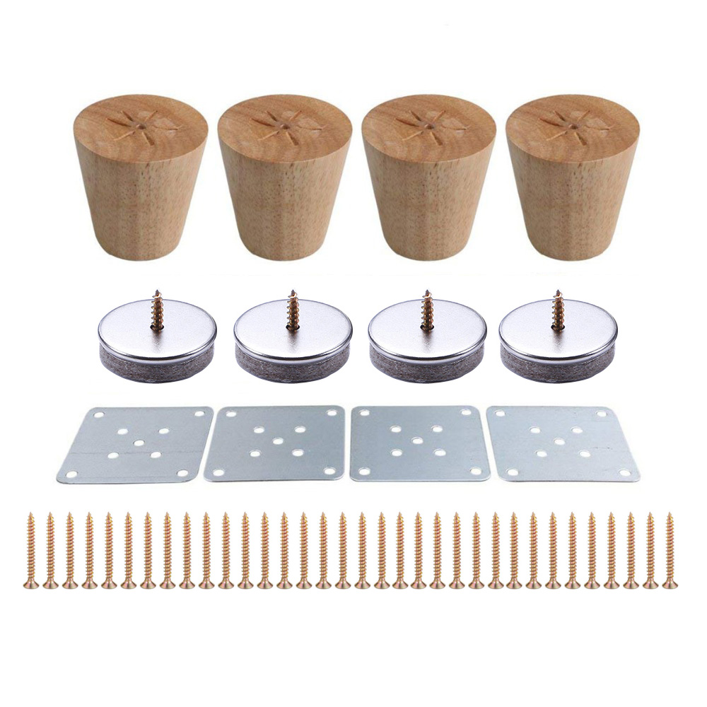 4pcs 6cm Height Wooden Furniture Legs Oblique Tapered Reliable  Sofa Table Feet Couch Dresser Armchair Foot Oak Wood More Gift
