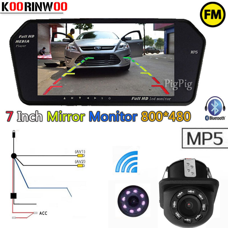 Koorinwoo Parking 2 4G Wireless Adopter Car rear view camera Car monitor 1024 600 bluetooth FM