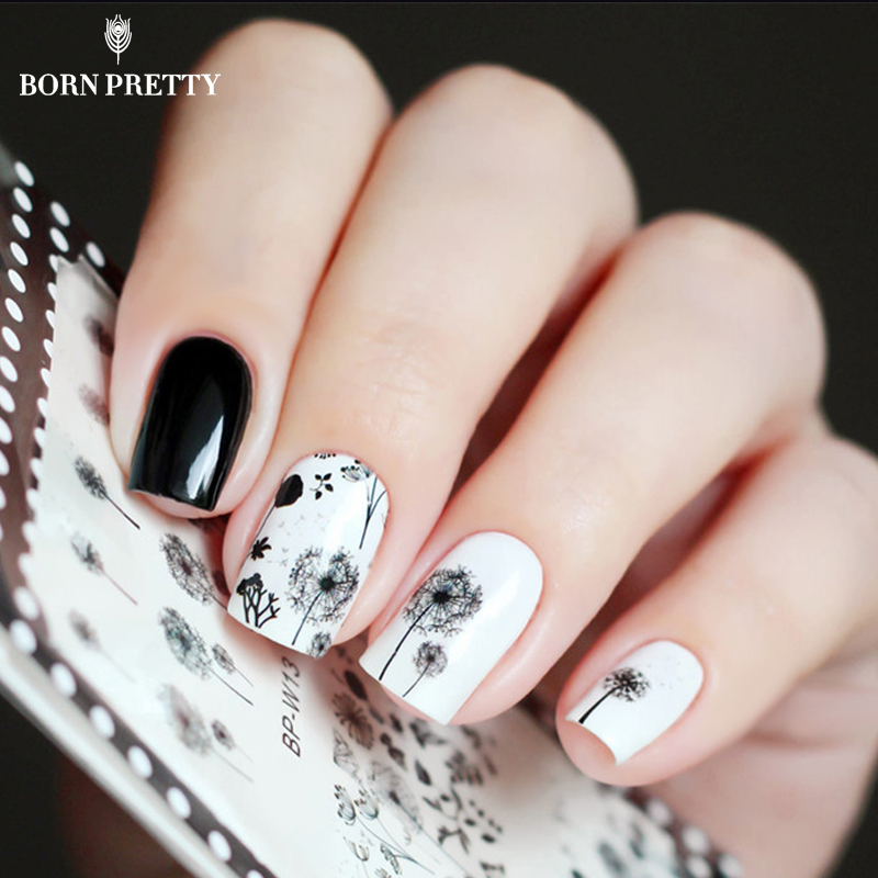2 Patterns/Sheet Flying Dandelion Nail Art Water Decals Transfer Sticker BORN PRETTY BP-W13