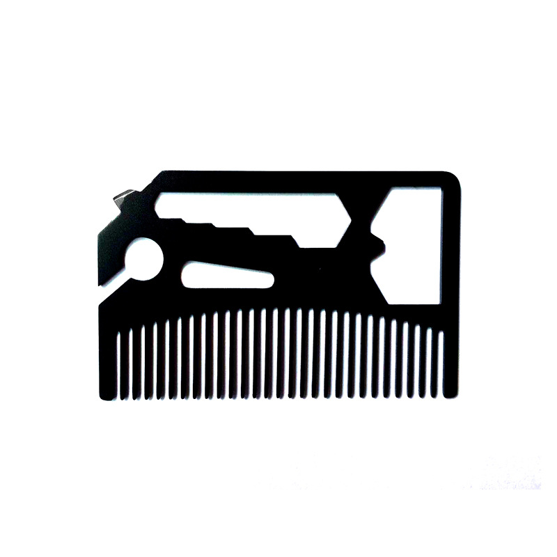 Men's Stainless Steel Comb Hairdressing, Beard Comb. Multi-function Bottle Opener Credit Card Size Gift For Men