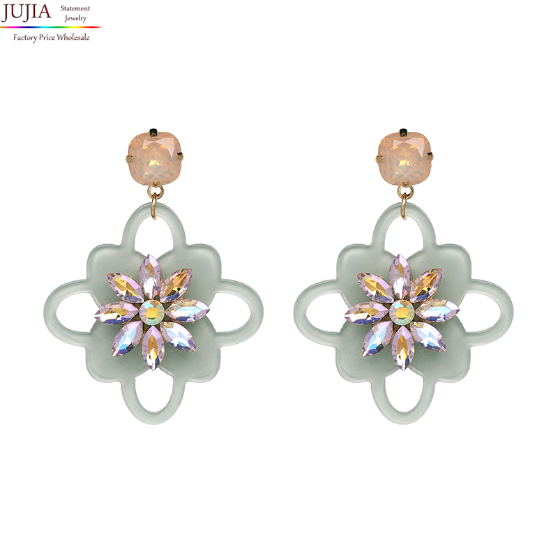 JUJIA <font><b>2019</b></font> good quality wholesale design crystal <font><b>flower</b></font> with resin <font><b>earrings</b></font> <font><b>for</b></font> <font><b>women</b></font> fashion <font><b>statement</b></font> drop <font><b>earrings</b></font> <font><b>for</b></font> <font><b>women</b></font> image
