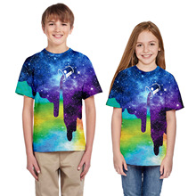 2019 New Children Summer Casual T-Shirt Starry 3D Print Fashion Boy Girl Short Sleeve Round Collar Tops Tees Kids Cotton Clothes