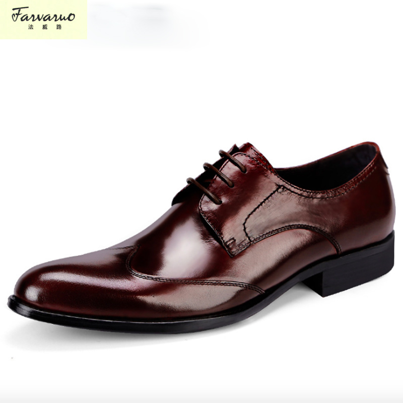 New Men Business Formal Dress Shoes Oxford Men Genuine Leather Shoes Lace-Up Pointed Toe British Style Men Shoes Brown Black men s genuine leather pointed toe shoes lace up business dress shoes men british style party wedding fashion buckle high heels