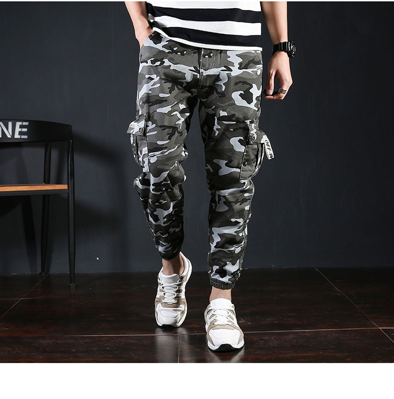 Camo Cargo Pants 2018 Mens Fashion Tactical Trouser Hip Hop Casual Cotton Multi Pockets Pencil Pants Streetwear Military Joggers