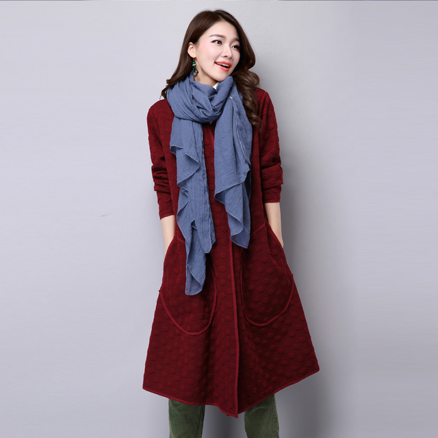 2017 Autumn Plus Size Trench cotton-padded Thickening Cotton Long Sleeve Casual Long Coat For Women Open Stitch QS142