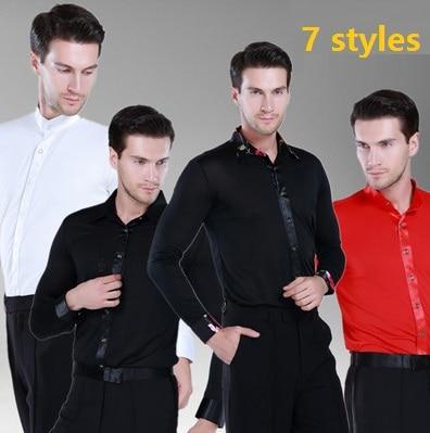 2015 men's Latin shirts mens Cha Cha Samba dance shirt adult Latin tops Rumba Tango Salsa modern ballroom dance shirt 4 colors