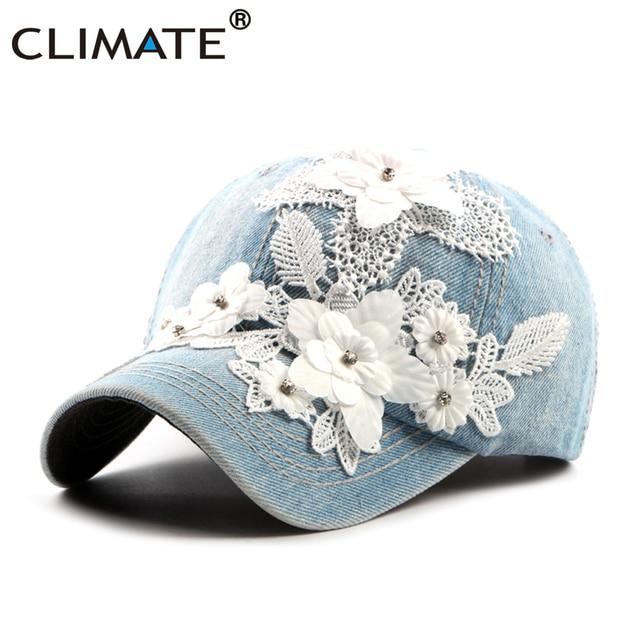 16bfcaa43d7 CLIMATE Women Denim Baseball Cap Hat Women Fashion Flower Caps Floral Denim  Jeans Wear Cap Women Cool Hat Caps for Women Girls