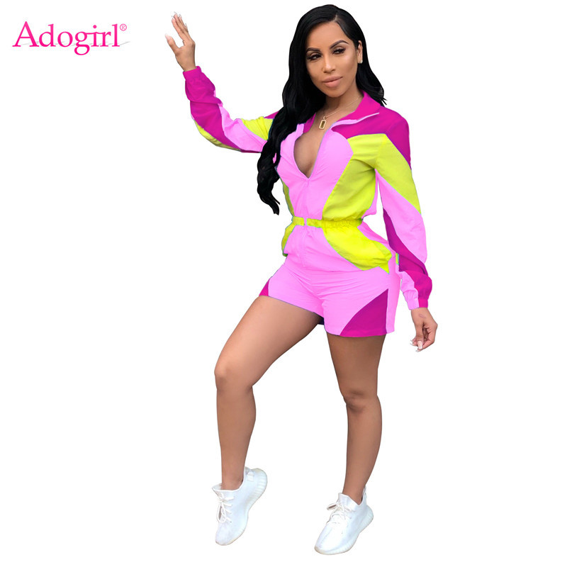 Adogirl Color Patchwork Sunscreen Loose Casual   Jumpsuit   Zipper Zipper Turn Down Collar V Neck Long Sleeve Shorts Romper Playsuit