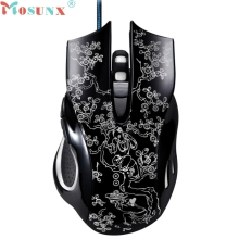 Top Mosunx 2400DPI LED Optical 6D USB Wired Gaming Mice PROFESSIONAL Gamer Mouse For PC Laptop Game Home/Office Use