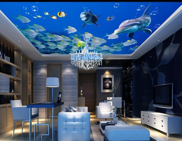 3d ceiling murals wallpaper marine fish dolphins wallpaper for Wallpaper home improvement questions