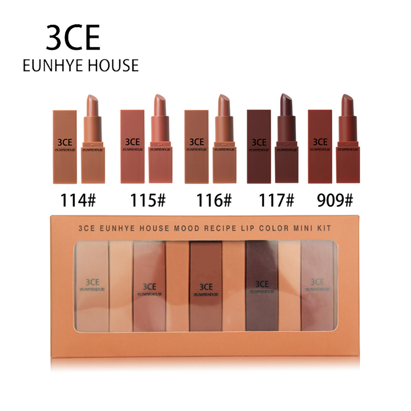 3CE EUNHYE HOUSE Lips Makeup Matte Lipstick Waterproof Lips Cosmetics Easy To Carry Matte Lipsticks 5 Colors In 1 Set Hot Sale ...