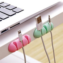 2 Pcs 2018 Cute Cable Fixed Storage Headphone Headset Wire Wrap Cord Winder Organizer Cable Collector Silica Dropshipping A35(China)