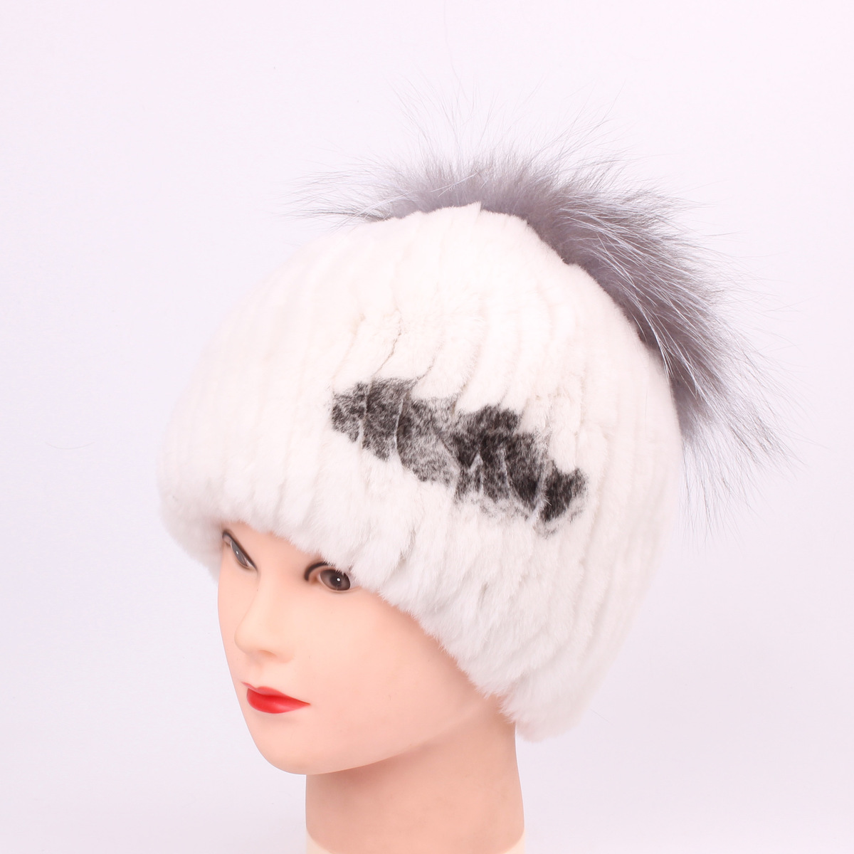 Rex Rabbit's Hair Fur hat Ma'am Hats for women Autumn And Winter High Archives  Keep Warm Fox Woman pompom rabbit hair lady autumn winter new weaving small pineapple fur hat in winter to keep warm very nice and warm comfortable