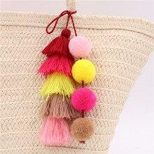 Colorful Pompon PomPom Keychain Tassel Pompom Pendant Key chain Accessories Key ring Women Bag Car Jewelry trinket Bag Pendant pompom
