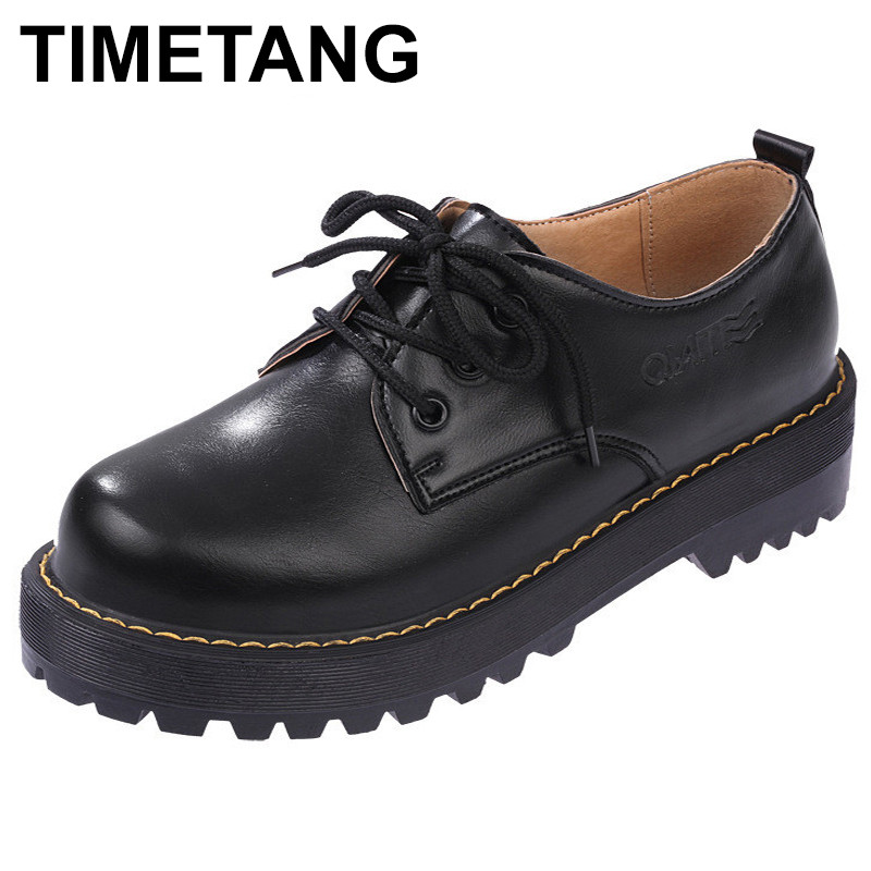 TIMETANG  British Style Women Oxfords New Spring Winter Lace-Up Flats Round Toe Creepers Casual Ladies Platform Shoes Woman phyanic 2017 gladiator sandals gold silver shoes woman summer platform wedges glitters creepers casual women shoes phy3323