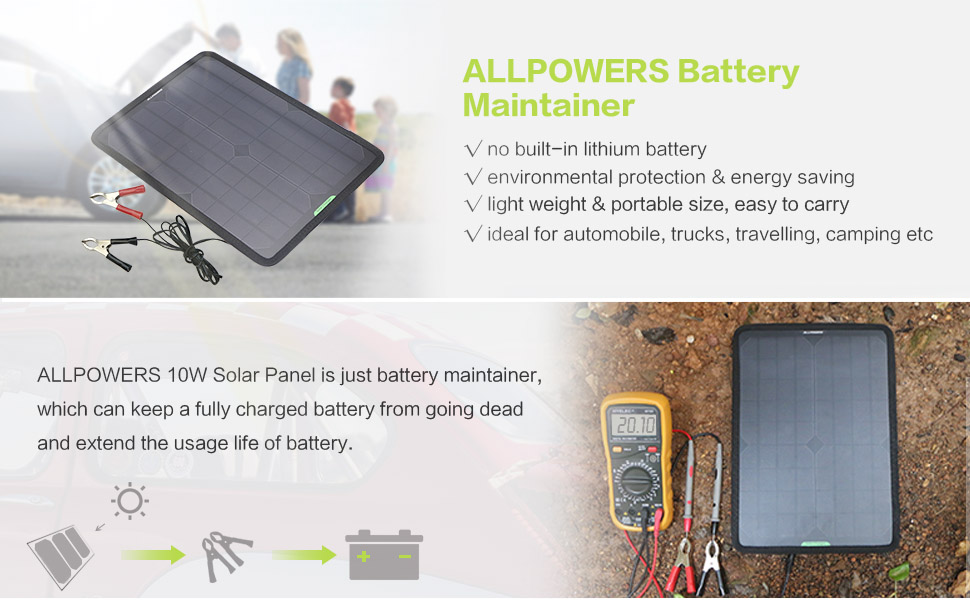 Portable Solar Panel Car Charger 10W 12V Solar Car Battery Maintainer Charger for 12V Battery of Vehicle Boat Motorcycle