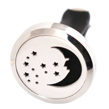 Moon and Star 30mm Diffuser 316 Stainless Steel Car Aroma Locket Essential Oil Car Diffuser Locket Free 50Pcs Pads