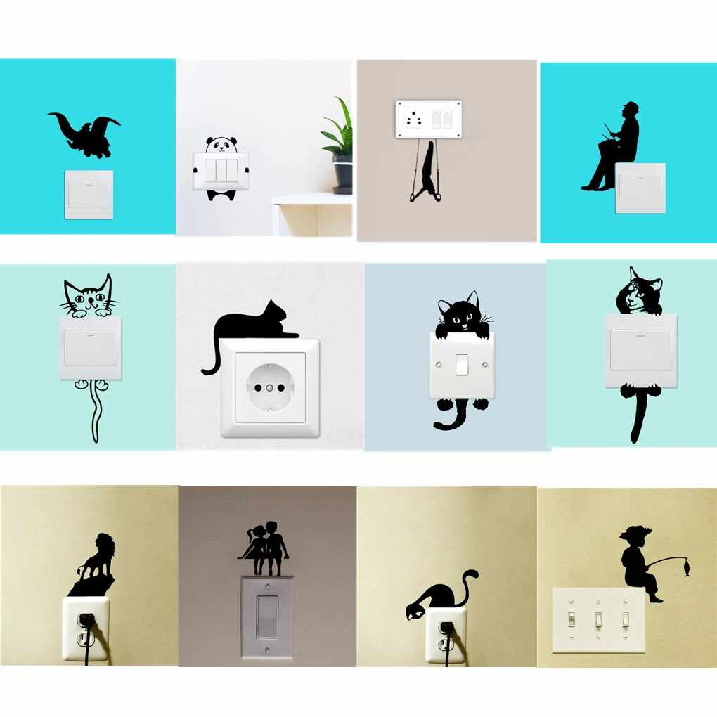 Cute Animals Light Switch Wall Stickers For Kids Children Rooms DIY Home Decoration Cartoon Cat Wall Decals PVC Stwich Sticker