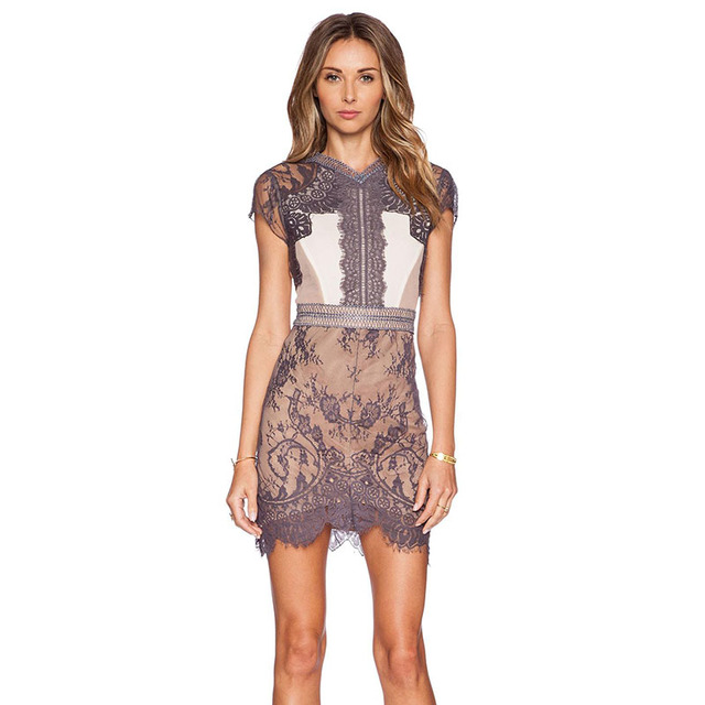 35eefdade8c Wonder beauty New Arrival Women Sexy Embroidery Lace Patchwork Apricot  Bodycon Dress Short Sleeve Backless Pencil Clubwear Dress