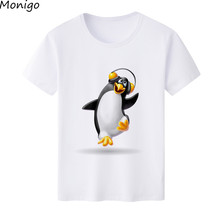 2017 Summer Cartoon Tee T-shirt  Lovely Penguin Listening to Music Printed O-neck Short Sleeves Unisex Casual Tee Tops