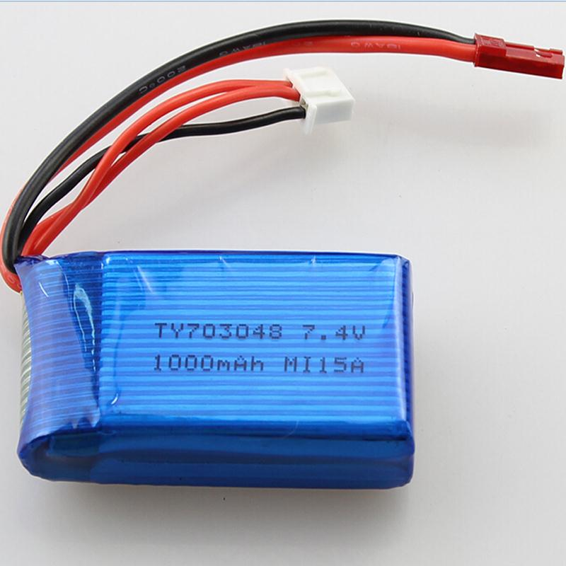 3pcs/lot Battery 7.4V 1000mAh 20C 2S Li-Po Battery for RC Helicopter Quadcopter For WLtoys V262 V353 V912 1pc 7 4v 1000mah li po battery for wltoys v262 v333 v353 v912 v915 ft007 devo4 mjx x600 rc helicopter hot sale