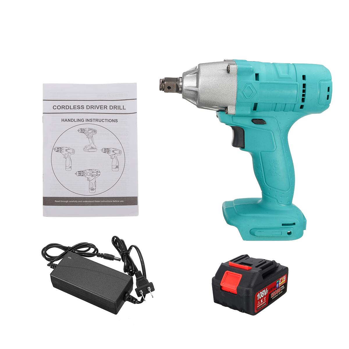 New 320N/m 108VF 12800mAh Lithium-Ion Battery Electric Cordless Impact Wrench Drill Driver Kit Power Tools