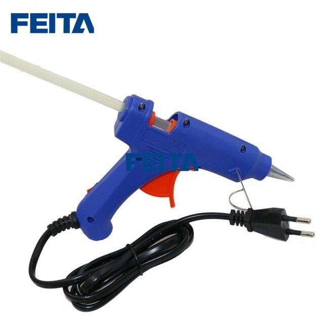 FEITA pistola de pegamento de fusión en caliente enchufe europeo, 20W, calentador profesional de alta temperatura, herramientas de calor para reparación, pinza con 1 unidad, barra de pegamento
