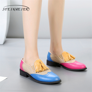 Image 4 - Women oxford Spring shoes genuine leather loafers for woman sneakers female oxfords ladies single shoes strap 2020 summer shoes