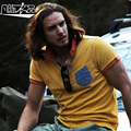 Free Shipping New men's Male fashion casual Cowboy short sleeved POLO shirt Lapel cotton knit shirt pocket water wash On Sale