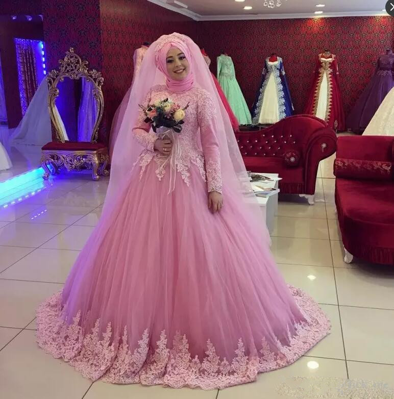 Pink Vestido De Noiva 2019 Muslim Wedding Dresses Ball Gown Long Sleeves Tulle Lace Dubai Arabic Wedding Gown Bridal Dresses