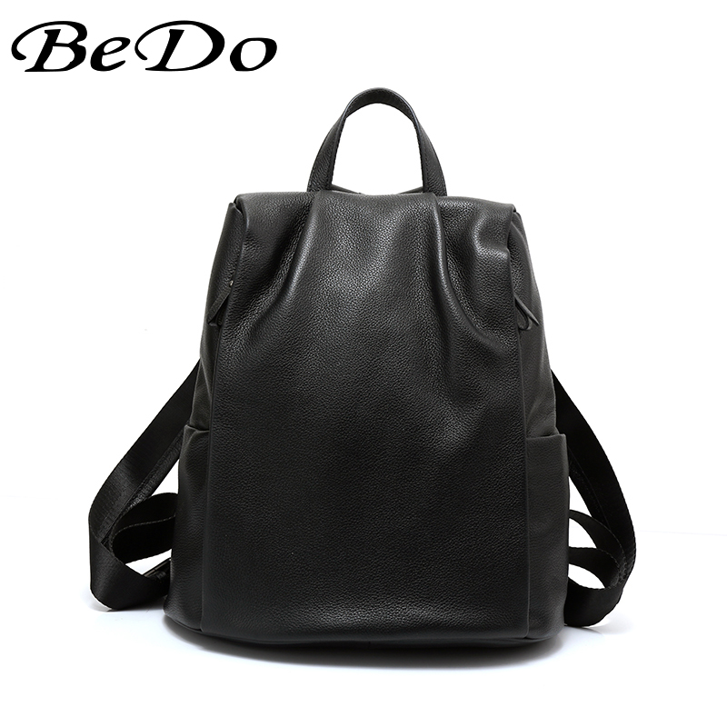 BeDo Genuine Leather Women Backpack High Quality Preppy Style Teenage Girls School Bags Backpack Fashion Casual Black Women Bag new designer women backpack for teens girls preppy style school bag genuine leather backpack ladies high quality black rucksack