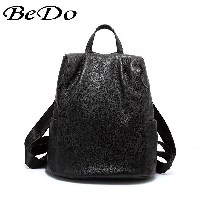 BeDo en cuir véritable femmes sac à dos de haute qualité Style Preppy adolescentes sacs d'école sac à dos décontracté noir femmes sac