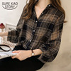 long sleeve female shirt striped plaid OL women blusas 1
