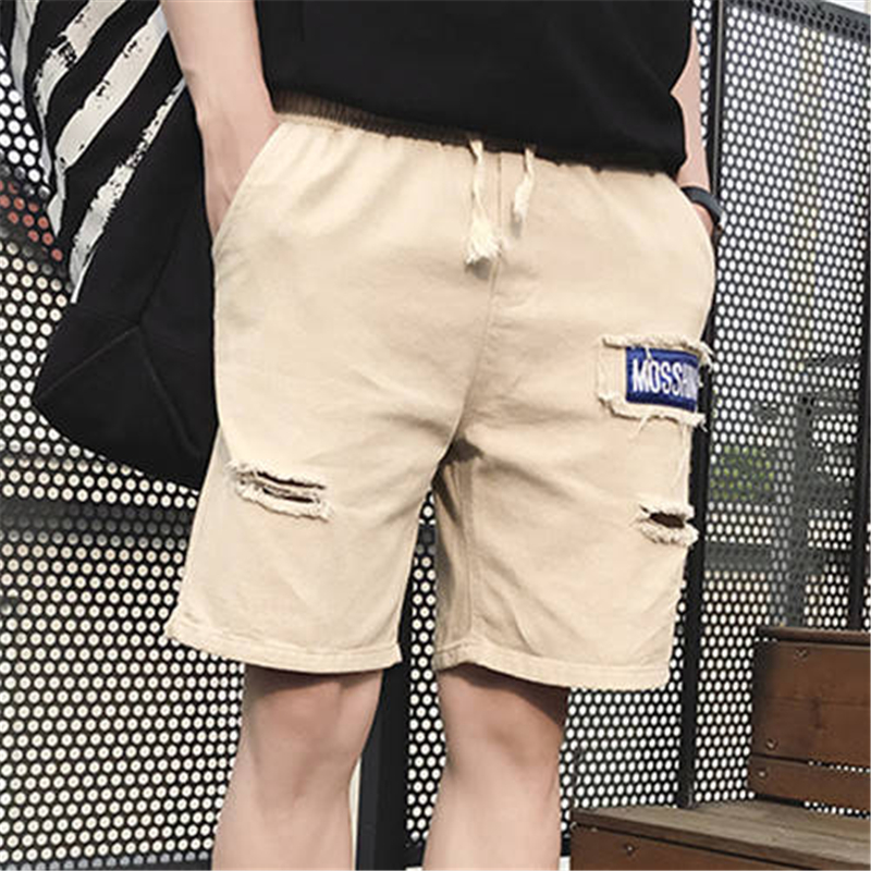 2019 Cool Print Shorts Men Streetwear Summer Work Hole Short Pants Green  Beach Slim Fit Short Trousers Fashion Cargo Shorts Men