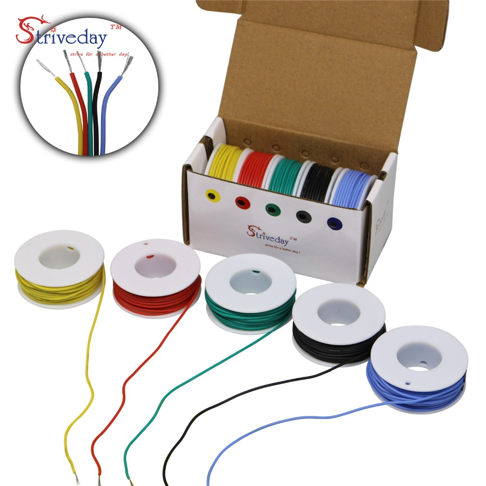 50 meters/box 26AWG Flexible Silicone cable Wire Tinned Copper line ( 5 colors mix Stranded Wire Kit) each colors 32.8 feet50 meters/box 26AWG Flexible Silicone cable Wire Tinned Copper line ( 5 colors mix Stranded Wire Kit) each colors 32.8 feet