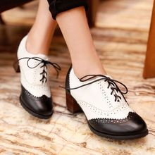 2015 Fashion Black/Brown Carved Coarse Lace Up Thick Heels Women Pumps Casual Oxford Shoes For Women Sapato Feminino