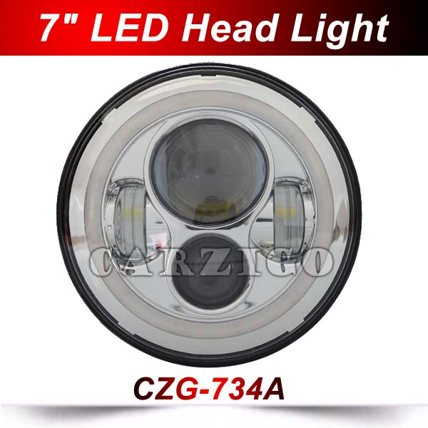 CZG-734A 2pcs 7 headlight with hi low beam 7 inch round led headlamp 40w accessories with amber angel eye for jeep wrangler 4x4 3 9 lcd 2 4ghz 3ch transmitter